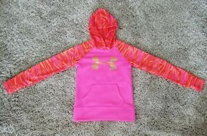 UNDER ARMOUR Girls Pink Camo sz YSM Pullover Hooded Sweatshirt Hoodie COLD GEAR