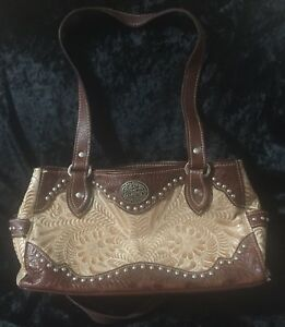 American West Handbag Brown Hand Tooled Leather Studded 2 Handles Western