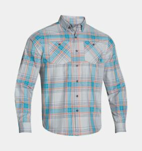 Under Armour UA Chesapeake Plaid Shirt Men Fishing Golf Long Sleeve LS Shirt 2XL