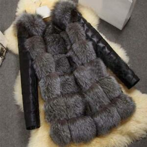 Fashion Winter Women Imitation Fox Fur Coat PU Leather Long Sleeve Jacket Keep W