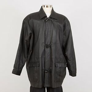 Men's Leather Car Coat Topcoat Jacket Size XL Black Insulated ITALY