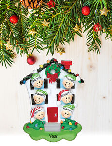 Personalized Christmas Tree Ornament Holiday Gift, House for Family of 2-3-4-5-6