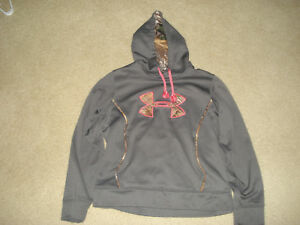 Under Armour Hoodie Women's Girls Gray Pink Camo Sz Large