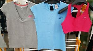 3x Nike T-shirts Sport Bra Dri-Fit Grey Blue Pink Womens Girls Size M 10-12
