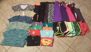 UNDER ARMOUR Women's (Lot X 27) Exercise NIKE Athletic Shorts Tops Clothes Small