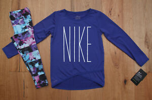 Nike Girl Long Sleeve Shirt and Leggings Set ~ Dri-Fit ~ Purple Black