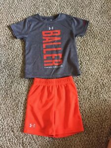 Under Armour Heatgear T-Shirt and Shorts Set 2t Toddler Boys Gray and Orange
