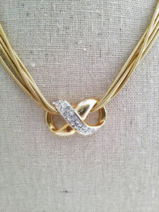 Vintage Infinity Slide Crystal Pendant & Necklace Snake Chain Costume Jewelry