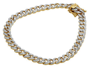 Mens Cuban Link Chain Bracelet Real Diamond 10K Yellow Gold 1 45CT 8.5