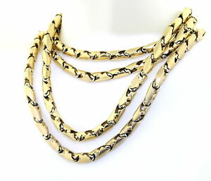 10K Gold Solid Bullet Chain 37 Inch Long 83gms White Gold Tone 4.5mm Wide