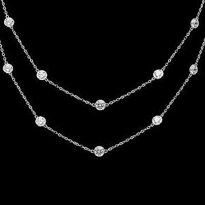 3CT Created Diamond By The Yard Bezel Station Necklace 14k White Gold Chain 16