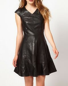 Spring Designer Lamb New Leather Women Dress Cocktail Stylish Party Wear  D-198