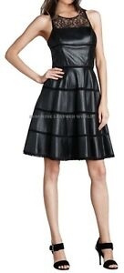 Spring Designer Lamb New Leather Women Dress Cocktail Stylish Party Wear  D-007