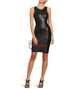 Spring Designer Lamb New Leather Women Dress Cocktail Stylish Party Wear  D-158