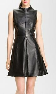 Spring Designer Lamb New Leather Women Dress Cocktail Stylish Party Wear  D-139