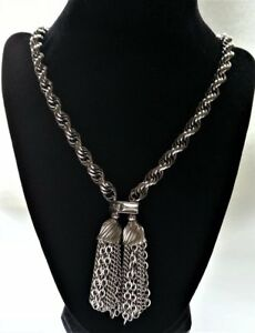 Vintage Women's Silver Tone Tassel Pendant Necklace Costume Jewelry