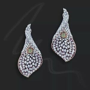 Statement earring cocktail party high end handmade jewelry solid 925 sterling cz