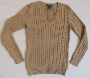 Ralph Lauren LRL V Neck Cable Knit Cableknit Holiday Sweater Jumper Pullover L $43.95