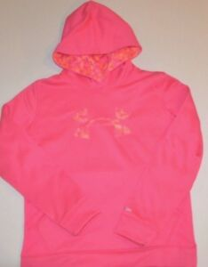 Under Armour Youth Pink Camo Logo Storm Hoodie Sweatshirt YLG Large *Girls