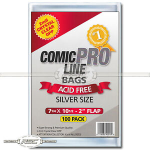 100 - Comic Pro Line Silver 2-Mil Clear OPP Bags - 7-14