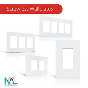 Screwless Decora Wall Switch Plate 1-4 Gang GFI Rocker Switch Plate Outlet Cover