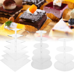 4 5 6 7 Tier Super Strong Clear Acrylic SquareRound Wedding Cupcake Stand Tower