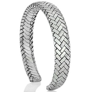 VY 925 Sterling Silver Men Women Braided Cuff Bracelet Bangle Free Size Gift