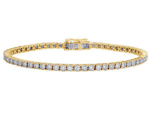Mens 1 Row Tennis Real Diamond Bracelet 10K Yellow Gold 2 12CT 7.5