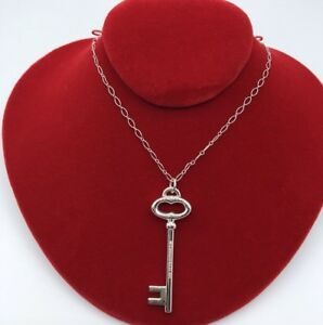 Tiffany amp; Co. 925 Sterling Silver Large Co Oval Key Pendant Necklace NK018 $279.00