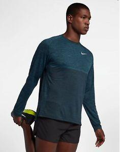 Nike Dri-Fit Knit Medalist Long Sleeve Running Top Shirt Blue Force DRY Large