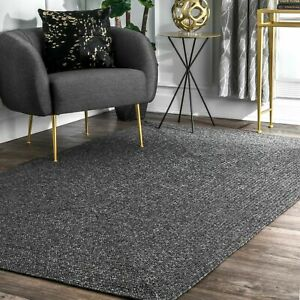 nuLOOM Braided Contemporary Modern Indoor Outdoor Area Rug in Charcoal Grey $61.99