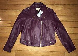 MICHAEL KORS Moto Biker Faux Leather Zip Up Jacket Deep Burgundy Sz Large NWT