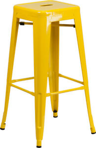 Flash Furniture Backless Metal Indoor/Outdoor Barstool with Square Seat, 30