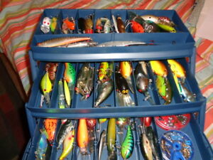 STUFFED THREE TIER PLANO TACKLE BOX WITH OVER SIXTY (60) FISHING LURES