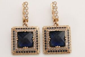 Turkish Hurrem Jewelry Square Cut Sapphire Topaz 925 Sterling Silver Earrings