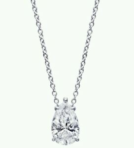 1Carat Solitaire Pendant Necklace And Chain Solid 14k White Gold Pear  Cut