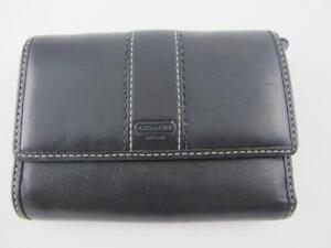 Coach Trifold Wallet Black Leather Contrast Card Organizer Change Coin Purse