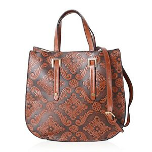 New Tan Faux Leather Embossed Baroque Flower Pattern Tote Bag 13x5.1x12.2