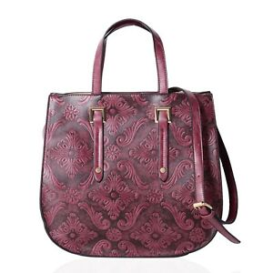 Dark Fuchsia Faux Leather Embossed Baroque Flower Pattern Tote Bag 13x5.1x12.2