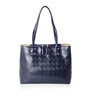 New Navy Faux Leather Embossed Greek Key Pattern Tote Bag 14x5x11
