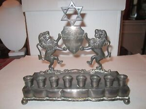 ANTIQUE SOLID STERLING SILVER MENORAH - JUDAICA - SIGNED L M - 790 GRAMS HEAVY