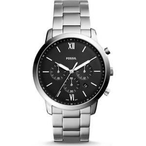 New Fossil Mens Chronograph NEUTRA Black Dial Bracelet Watch -Stainless FS5384