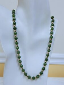 VINTAGE JADEITE GEMSTONE GOLD FILLED NECKLACE 20