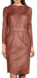 Spring Designer Lamb New Leather Women Dress Cocktail Stylish Party Wear  D-039