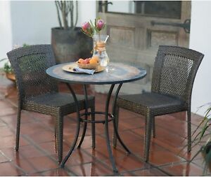 Outdoor  Bistro Set 3 Piece  Patio Deck Furniture All Weather Wicker Dark Brown