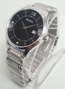 Bulova 96D142 Men's 40mm Diamond Accent Black Dial SSteel Bracelet Watch *NWT*