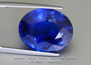 Shimmering Unheated Royal Blue Sapphire 21.99ct Oval Burma - Gubelin - Eye Clean