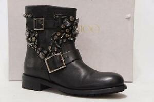 JIMMY CHOO YOUTH CRYSTAL MOTORCYCLE BIKE LEATHER  BOOTS 398.5$1750
