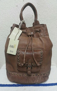 New Civico 93 Vintage Distressed Brown Leather Studs Women's Drawstring Backpack
