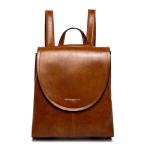 Retro Women's Genuine Real Cow Leather Backpack Travel Bag Embossed Handbag Hi-Q